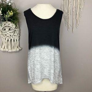 Express dip dye sleeveless blouse Large blue gray